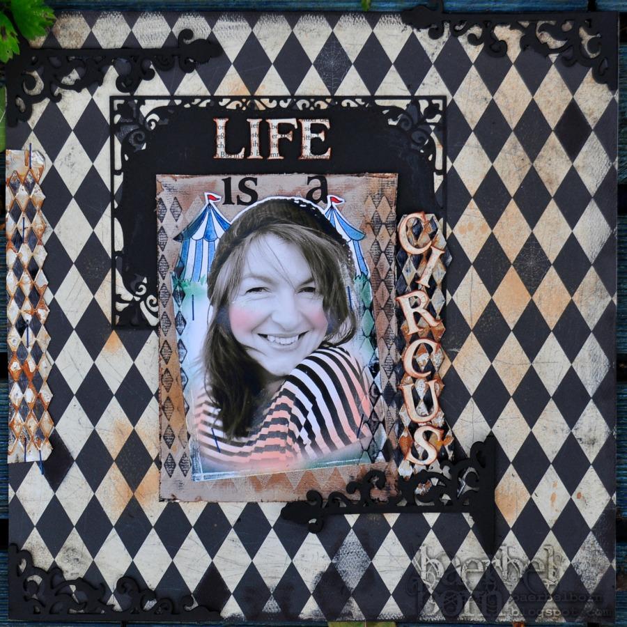 Das Leben ist ein Zirkus Scrapbooking Layout